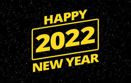 New Year 2022 creative wish card in retro star space theme - yellow typography Happy New Year 2022 on black night sky background - vector illustration 2022