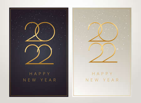 Posh New Year 2022 vertical cards luxury design - dark and light, black and golden luxury design with 2022 text and snowflakes in the shining posh background. New Year 2022 greeting card vector