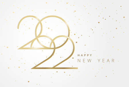 Beautifully luxurious New Year 2022 greeting card - Golden 2022 numbers elegant typography and Happy New Year greetings - horizontal light gold 2022 vector card