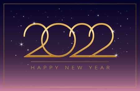 Happy New Year 2022 golden design on dark purple pink gradient shining background - vector horizontal illustration Иллюстрация