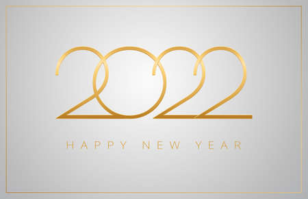 2022 Happy New Year greeting card - golden numbers on a silver background - vector 2022 New Year celebration background