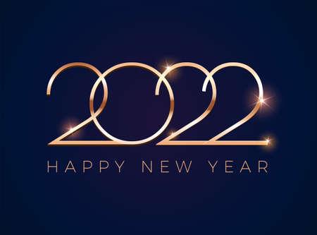 Luxury 2022 Happy New Year greeting card with golden shine 2022 on dark blue Иллюстрация