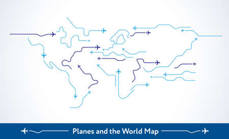 Airplanes fly over the world map - abstract minimal vector background. Conceptual line art - flying planes routes illustration. Blue lines and airplane icons on white background