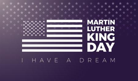 Martin Luther King MLK Day vector illustration - Martin Luther King Day typography lettering and USA flag on dark background - For poster, banner, flyer design