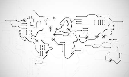 Circuit board world map shape - abstract technology background vector - lines and dots on white background
