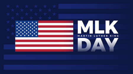 MLK Day - Martin Luther King Jr Day typography lettering with United States flag on dark blue background Фото со стока - 162030743
