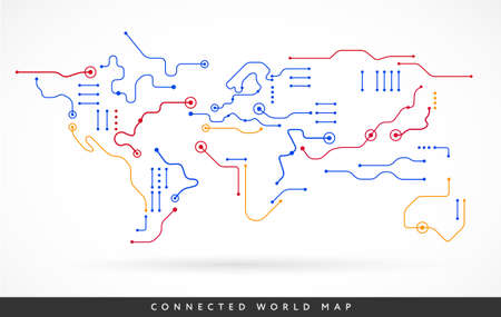Connected world map abstract technology background vector - connect the world concept line art Иллюстрация