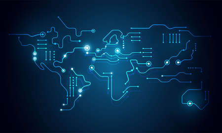 High tech abstract technology background - world map circuit board shape - digital connection dots vector