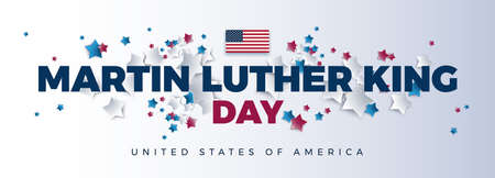 Martin Luther King Day vector background - Martin Luther King Day typography, the USA flag, United States of America text - red, blue, white stars colors on white background Иллюстрация