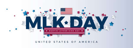 MLK Day - Martin Luther King Day powerful typography - USA flag and stars flying background - Vector illustration for banner, poster - Top quality design