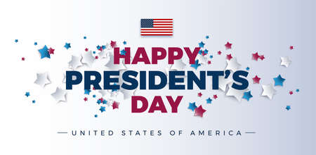 Happy Presidents Day with stars and USA flag - vector illustration for Presidents day banner, poster background Иллюстрация