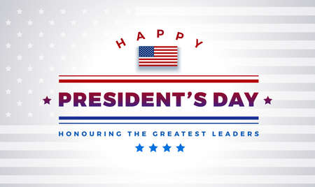 Presidents Day background with text - Happy President's Day, Honoring the greatest leaders. Light color white background with stars, stripes, United States flag - presidents day vector illustration Иллюстрация