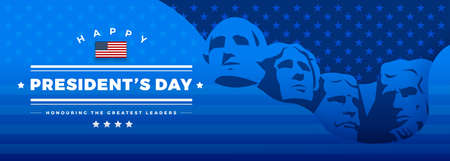 Presidents Day banner blue background vector illustration with lettering Happy President's Day and Rushmore USA presidents Vector Illustratie
