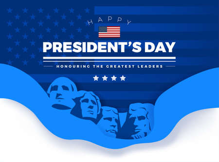 """Happy Presidents Day card with Rushmore four presidents background and lettering """"Happy President's Day. Honoring the Greatest Leaders"""" - vector illustration"""