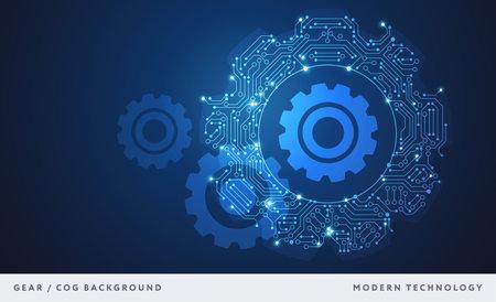 Gear abstract technology background blue - circuit board cog shape - High tech digital technology concept vector