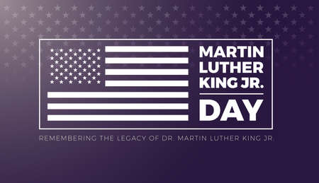 Martin Luther King Jr Day lettering and USA flag on stars background - vector illustration