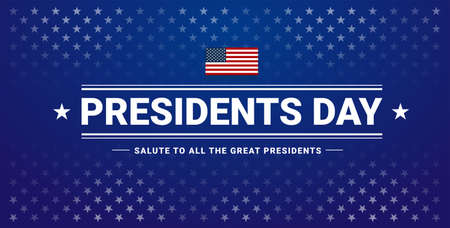 Presidents Day banner with Presidents Day lettering, USA flag, dark blue background, stars and stripes - vector illustration