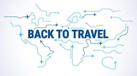 Back to travel concept - Airplanes silhouettes fly in the sky over world map - airplane travelling blue and white line art - vector illustration Иллюстрация