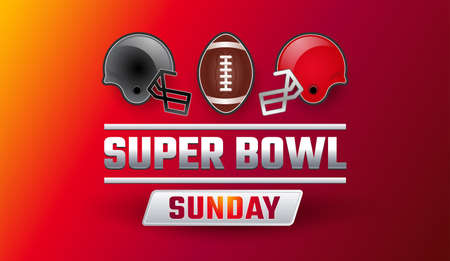 Super Bowl Sunday banner - teams gray and red helmets, football ball, Super Ball lettering on red yellow background - vector illustration