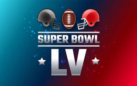 Super Bowl LV championship banner - red and gray Super Bowl teams helmets on red blue background - vector