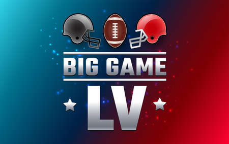 Football big game Sunday - two football helmets and football ball 2021 - red and blue background vector Иллюстрация
