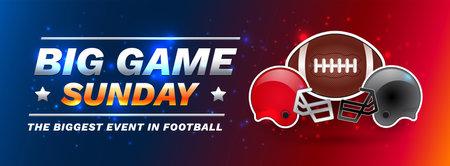 American football super Sunday football bowl championship big game - blue and red shining lights vector background Иллюстрация