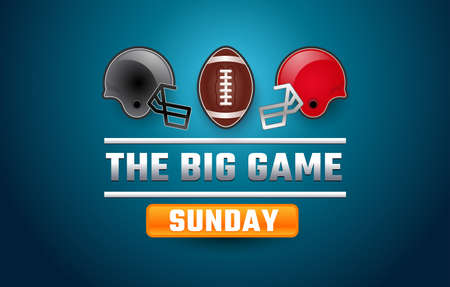 Football super big game sunday banner - gray and red helmets, football ball, blue background - bowl vector