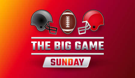Super bowl big game sunday banner - Championship final red background, gray and red helmets, football ball vector illustration