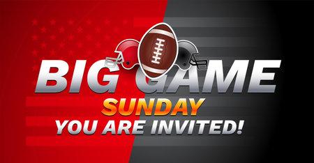 Football Big game Sunday invitation - USA national football championship - red and gray football teams helmets on red gray background - vector illustration