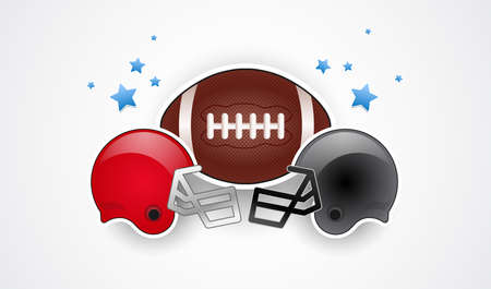 Football helmets red and gray team colors, football ball and stars - USA national championship vector illustration isolated on white background
