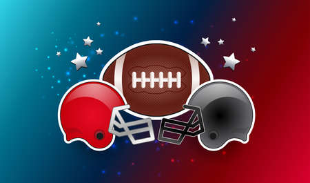 American football ball and two opponent teams helmets gray and red color - vector background no text Иллюстрация
