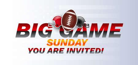 Super big game sunday bowl banner - american football ball and helmets - vector illustration