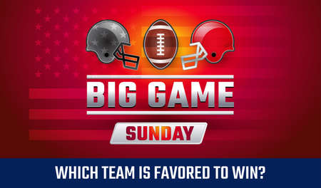 Big Game Sunday - American football championship banner vector illustration - Who will win the football final? Which team is favored to win?