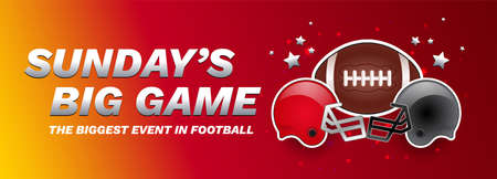 Sunday's big game - American football championship final red banner - american football ball, red and gray helmets - vector red and yellow background
