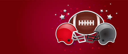American football red background banner with american football ball, two opponent teams helmets in red and gray color, stars in the background. USA patriotic red banner, no text
