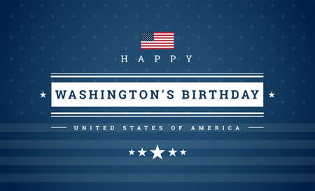 Washington's Birthday or Presidents Day or The third Monday in February - holidays celebration in USA. USA flag and stars on blue background - vector illustration for poster or banner