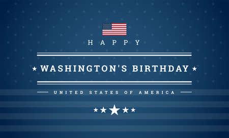 Happy Washington's Birthday President's Day card - USA flag and stars on blue background - vector patriotic illustration