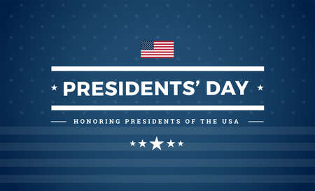 Presidents day USA blue background with the United States flag and stars - Presidents' day celebration vector patriotic sign