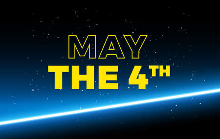 May the 4th holiday greetings vector background illustration - yellow text Иллюстрация