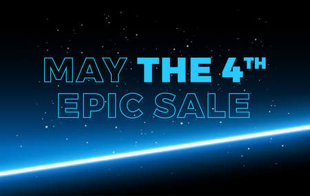 May the 4th Sale space background vector illustration - blue letters