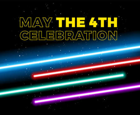 May the 4th be with you holiday celebration vector illustration with yellow text May the 4th and blue, red, green, purple lights on space background - vector illustration