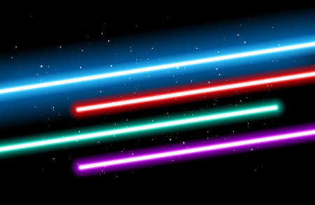 May the 4th background - Blue, red, green, red and purple light future swords on black starry space background - vector illustration Иллюстрация