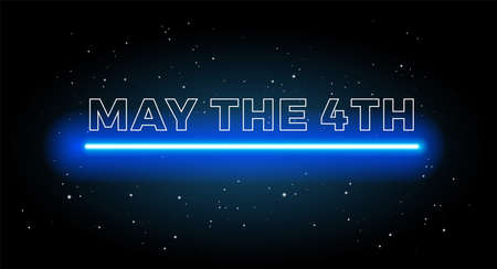 May the 4th abstract space background with shining blue light and black starry sky - vector illustration Иллюстрация