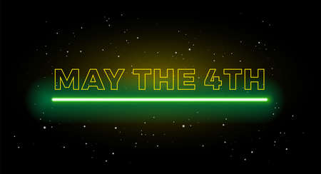 May the 4th holiday greetings vector background illustration yellow and green light Иллюстрация