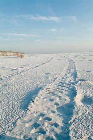 traces pneus: Photo de paysage morceaux de pneus, de pr�s � l'horizon, sur une plage vide.