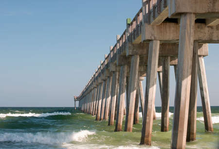 gulf of mexico: Public fishing pier in Pensacola, Florida in the Gulf of Mexico