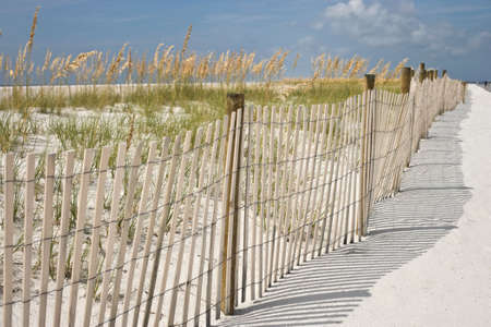 A sand fence, dunes and sea oats at the beach. Interesting soft background and shadows pattern photo