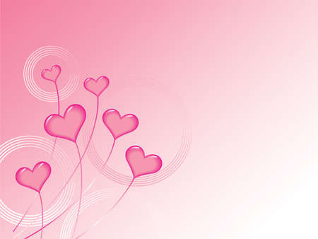 Background illustration of pink hearts floating like balloons on strings or stems, with circle patterns and gradients in background.  Vector