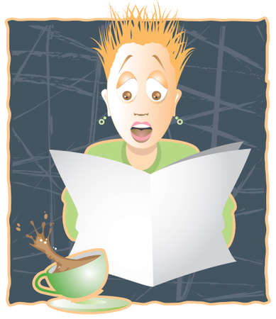 spilling: Woman reading newspaper with hair standing on end, earrings flying and coffee spilling. Room to put your  Illustration