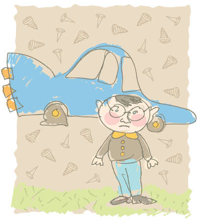 Funny, stressed little man with glasses in front of car with flat tire.  Ilustracja